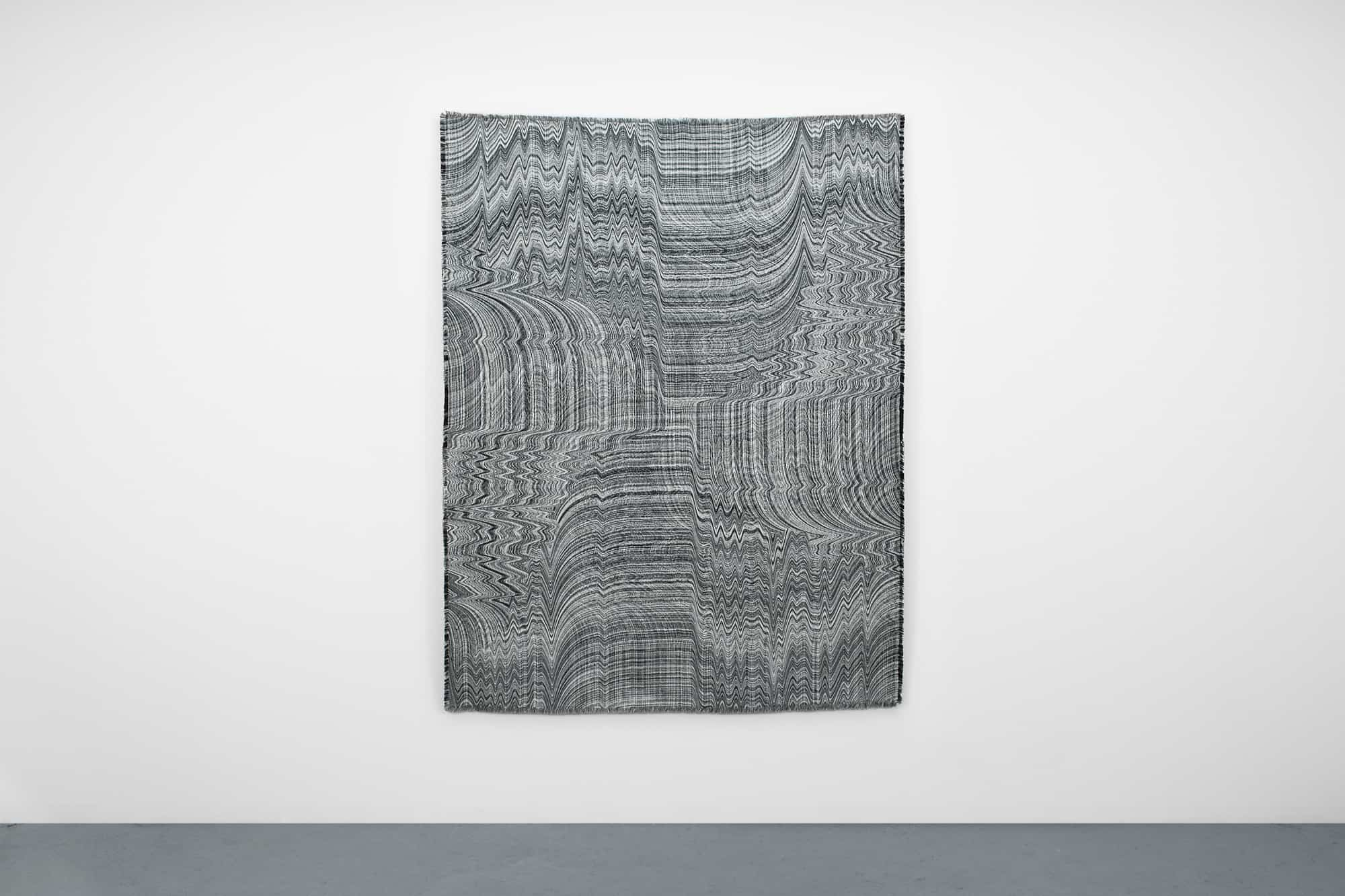 "Laura Splan, Embodied Objects (Blink Twice), 2016, computerized jacquard loom woven cotton tapestry, 70""H x 53""W"